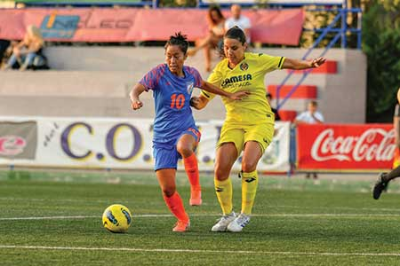 Ngangom Bala Devi in action on field