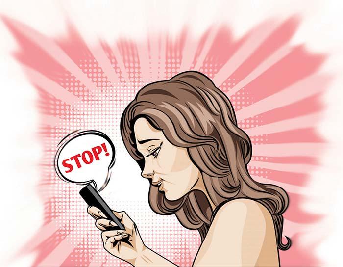 Illustration of girl on her mobile phone