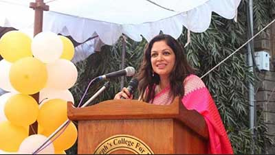 As Chief Guest, giving the Valedictory Address to over 1,000 students at her  alma mater, St Joseph's College for Women, Visakhapatnam