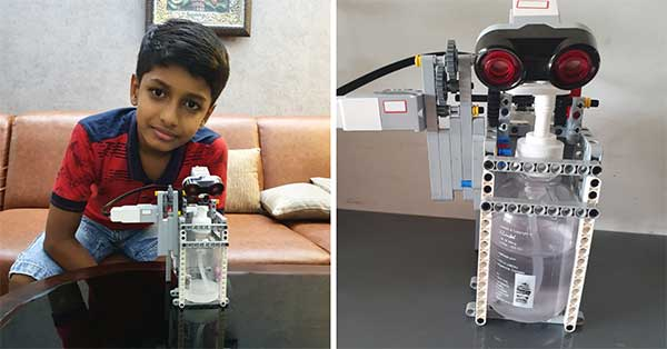 Alok Dev with his sanitizer-dispensing robot