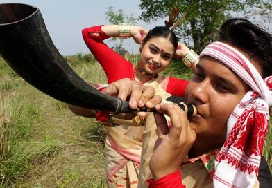 Bihu youth playing a musical instrument