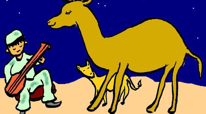 Illustration of a man playing the Morin Khurr to a camel