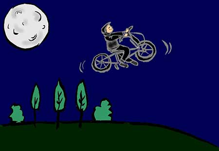 Illustration of man on a flying cycle cycling past the moon