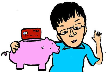 Illustration of a boy with a hi-tech piggy bank
