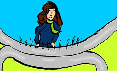 Illustration of a woman playing the hydrolauphone