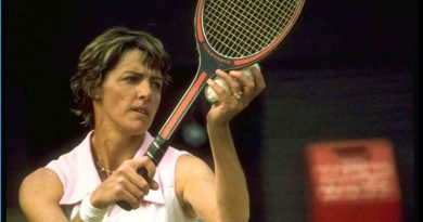 Margaret Court serving during a tennis match