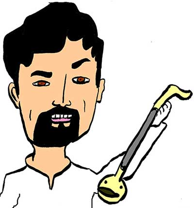 Illustration of a man playing a musical instrument the otamatone