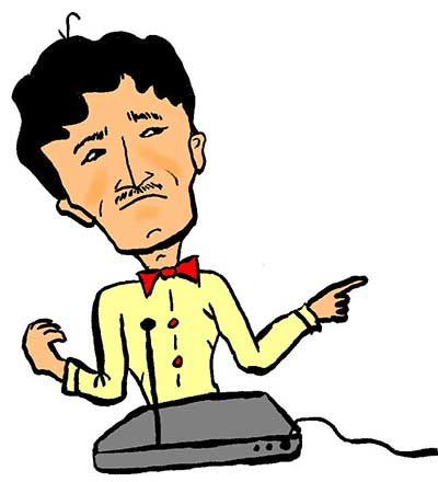 Illustration of a man playing the theremin