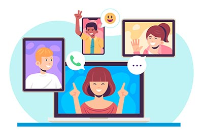 Illustration of people on a video call