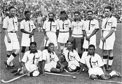 Dhyan Chand with the Indian hockey team at the 1936 Berlin Olympics.
