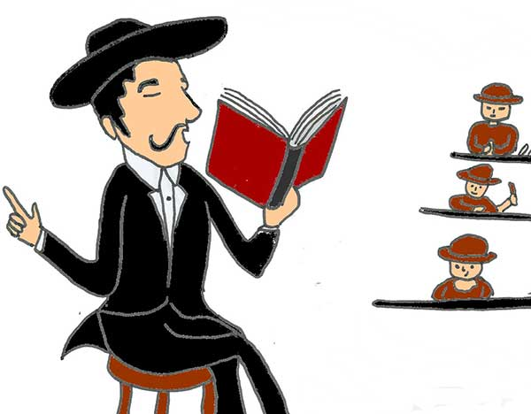 Illustration of a man reading books to cigar factory workers