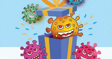Illustration of Coronavirus jumping out of gift box