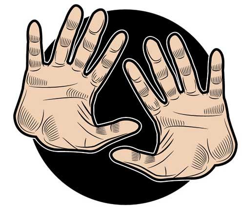 Illustration of hands raised in stop gesture