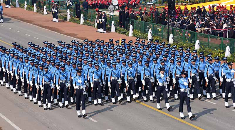 The Air Force Marching Contingent passes through the Rajpath, at the 71st Republic Day celebrations in New Delhi on January 26, 2020.