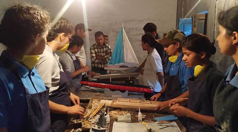 National Cadet Corps cadets at work making ship models