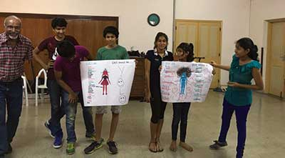 Teens participating in an Up2Me Teens relationships project in Mumbai