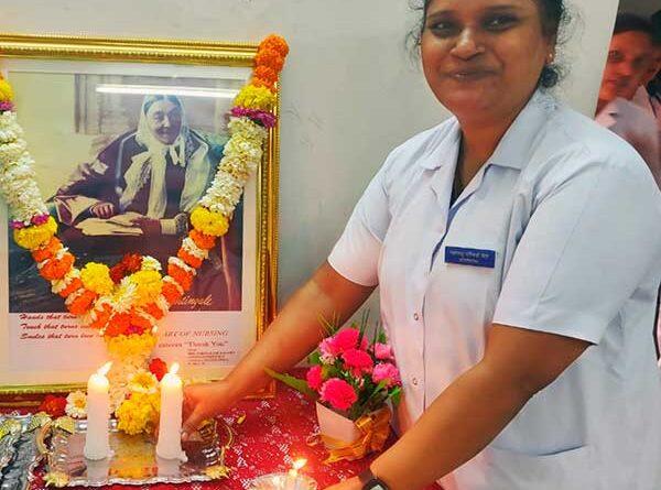 Nurse Anjali pays homage to Florence Nightingale, the founder of modern nursing.