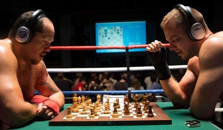 Participants in a Chess Boxing match