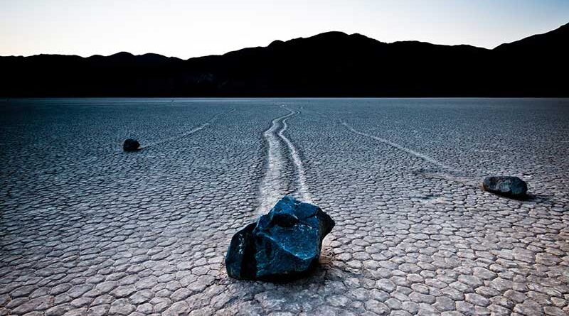 Rocks moving over Racetrack Playa lakebed in California