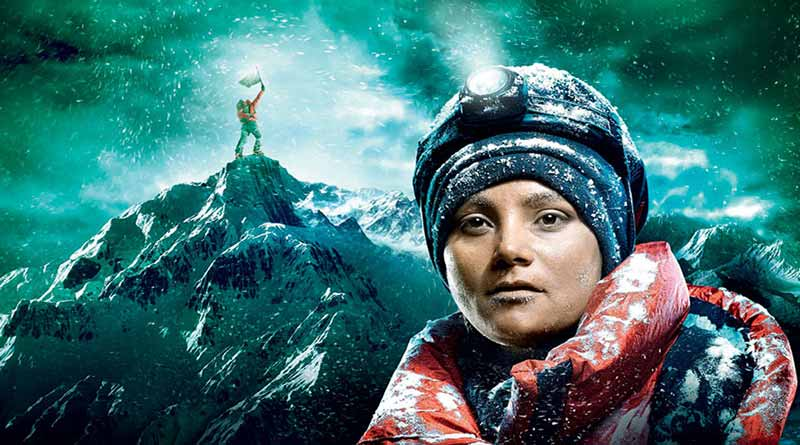 Arunimha Sinha at the top of Mount Everest (artist's representation)