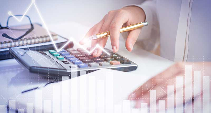 Chartered accountant making calculations