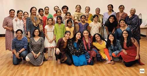 Mitali D'Souza from Mumbai with a group of her students