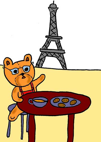Illustration of a teddy bear having tea near the Eiffel Tower in Paris
