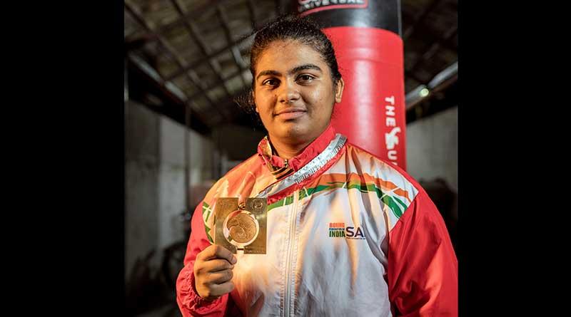 Alfiya Pathan with the World Youth Boxing Championship gold medal