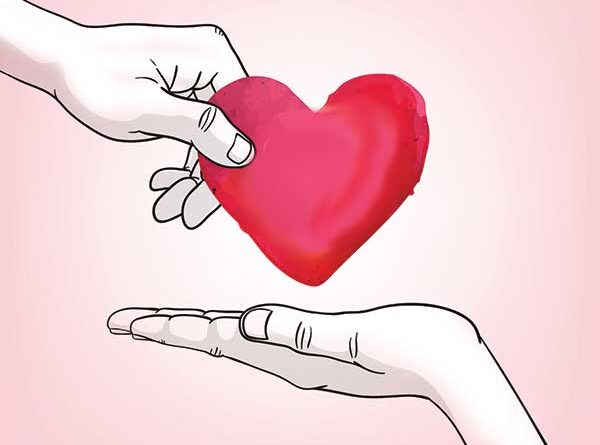 Illustration of heart being given from one hand to another