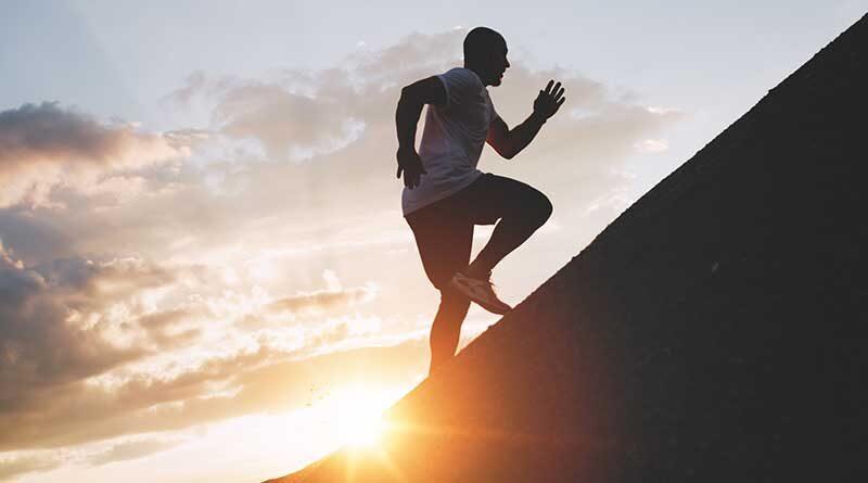 Man running uphill