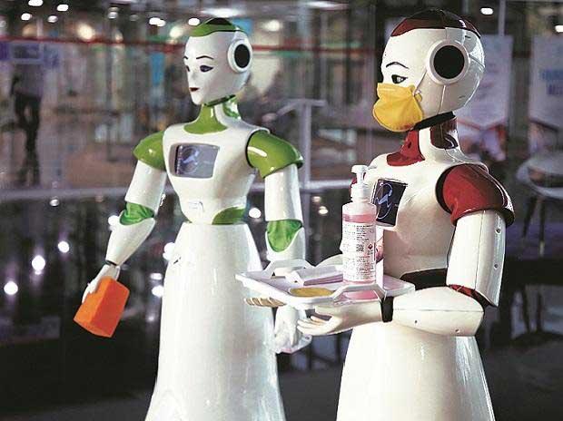 Sanitizer-dispensing robots by Asimov Robotics