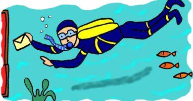 Illustration of diver delivering postal mail