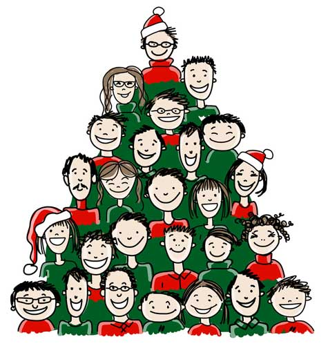 Cartoon people in the form of Christmas tree