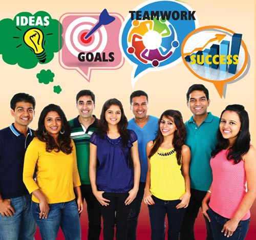 Group of Indian youth with ideas