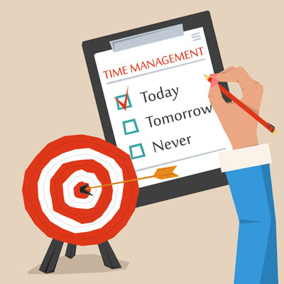 Vector concept of time management. Target goal with arrow in the center, hand making sign on to do list/