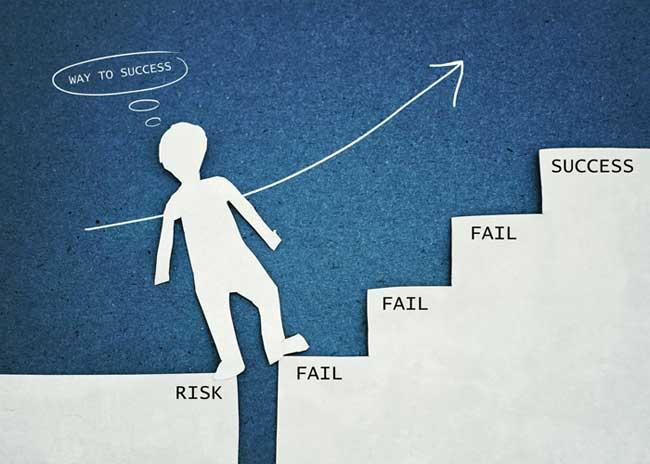 Man climbing stairway to success