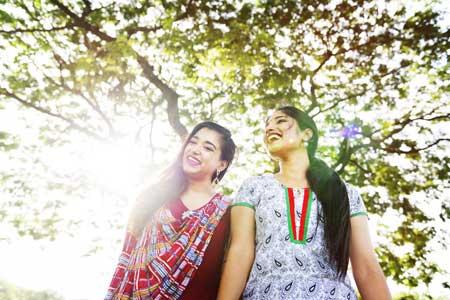 Two Indian girls walking
