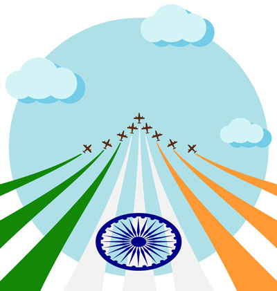 Planes flying in formational with national flag of India
