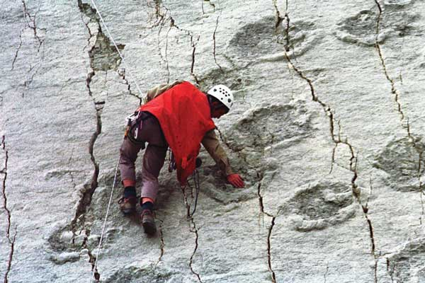 Dinosaur footprints on limestone cliffs of Cal Orcko, Bolivia