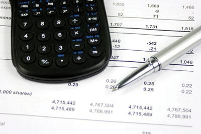 Calculator on a balance sheet