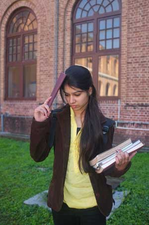 Tense Indian college student on campus
