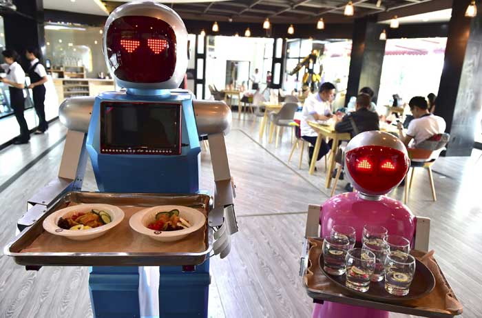 Robot service in a restaurant