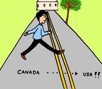 Man crossing Rue Canusa Road between USA and Canada