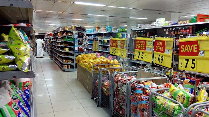 Supermarket with discounted products on display
