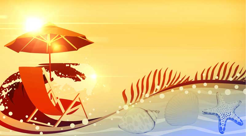 Illustration of beach chair and umbrella on beach during summer