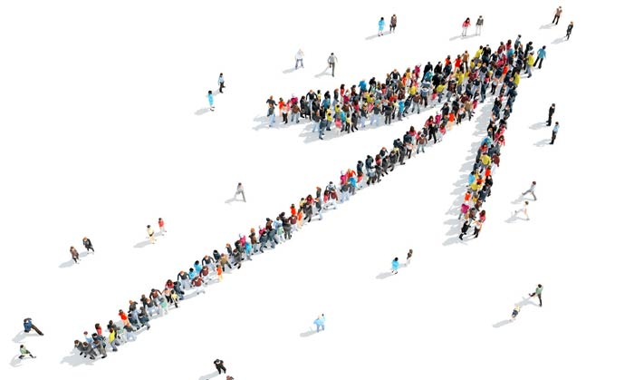 People forming an arrow shape as leaders and followers