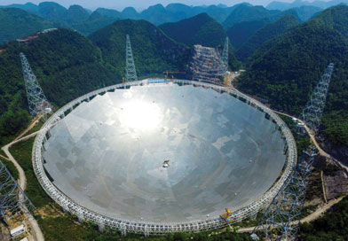 World's biggest radio telescope Five hundred-metre Aperture Spherical Telescope (FAST)