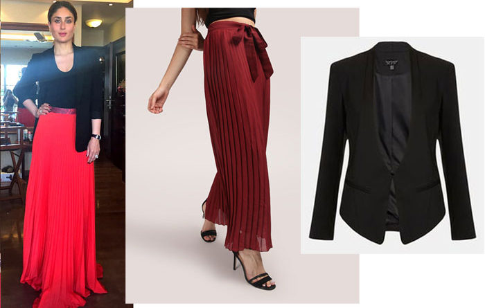 Actress Kareena Kapoor in a red pleated long skirt and black jacket