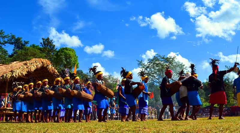 Garos performing the Wangala dance