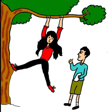 Girl swinging from a tree